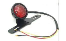 FANALINO A LED Posteriore Coda Luce Di Stop Con Porta Targa Staffa Universale Per Moto Custom ATV Cafe Racer - Nero