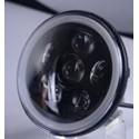 """FARO LED 7"""" ANTERIORE CON HALO E RGB  PER MOTOCICLETTE E AUTO - CROMATO -"""