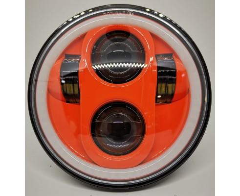 """FARO LED ANTERIORE 5,75""""PER MOTOCICLETTA E AUTO con Halo - sfondo arancio"""