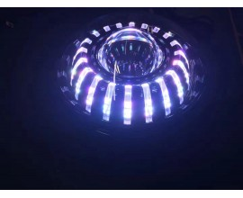 """FARO LED ANTERIORE 7"""" - IRIDE - CON RGB /BLUETHOOTH  E POSIZIONE  -SFONDO NERO-"""