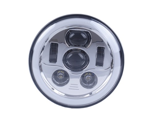 "FARO LED 5,75"" CON HALO - PER MOTOCYCLE CUSTOM - SFONDO CROMATO -"