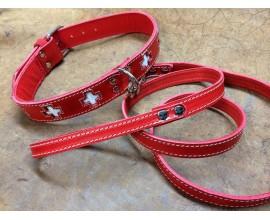 Collare e guizaglio per cane Modello San Bernardo in cuoio rosso e pelle bianca